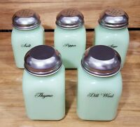 5 Jadite Green Glass Spice Jar Jadeite Shakers Set