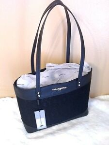 KARL-LAGERFELD-PARIS-Maybelle-Saffiano-Tote-Black-and-Lace-NWT