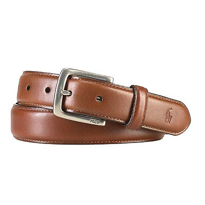 POLO RALPH LAUREN TAN BROWN STITCHED LEATHER SUFFIELD PONY BELT 34 - 42 $65+