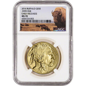 2016 American Gold Buffalo (1 oz) $50 - NGC MS70 - Early Releases - Bison Label