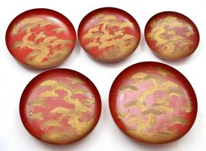 Set-of-5-Japanese-1930-039-s-Makie-Lacquer-Plate-Dish-with-Crane-Bird-amp-Pine-Tree