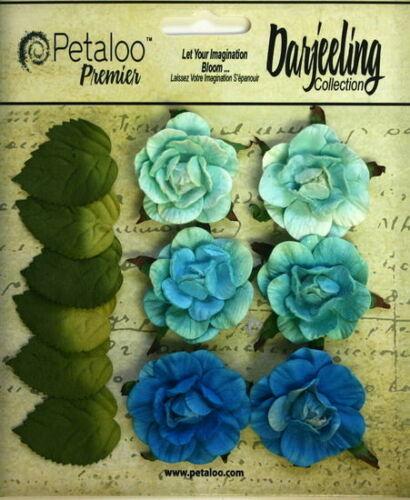 TEAL Flowers 6 Paper GARDEN ROSETTE 35mm /& 6 Leaves 25x30mm Darjeeling Petaloo