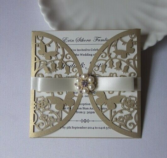 Laser cut Gold Butterfly Wedding Invitation cards+Inner sheet+Envelopes+Ribbon