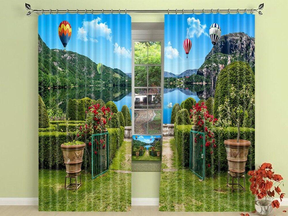 3D río de jardín 45 Cortinas de impresión de cortina de foto Blockout Tela Cortinas Ventana au