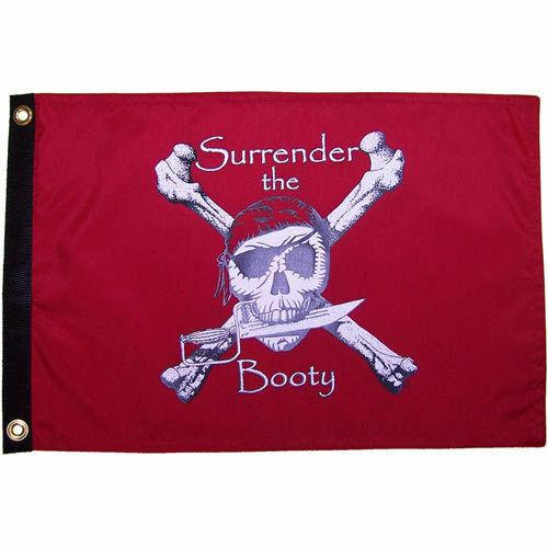 3x5 Crimson Red Surrender the Booty Pirate Flag NYLON Flag