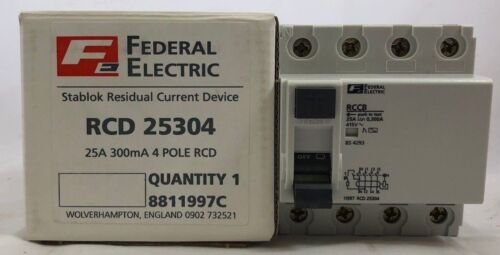 Federal Electric RCD 25404 25A Amp 4 Pole RCCB Stablok Circuit Breaker