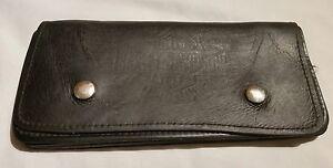 Vintage Harley Davidson Men's Black Leather Wallet Well Used Worn 3 Pocket