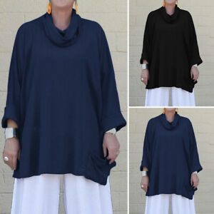 VONDA-Women-Loose-Scarf-Neck-Blouse-Casual-Plain-Pullover-Shirt-Formal-Top-Tunic
