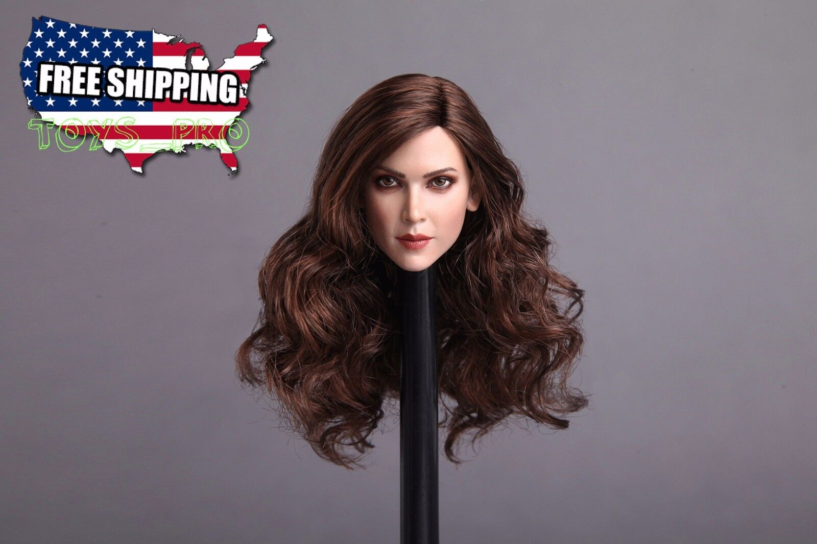 1 6 Female Head Sculpt PALE Long Brown Hair For Hot Toys Phicen Figure ❶USA❶