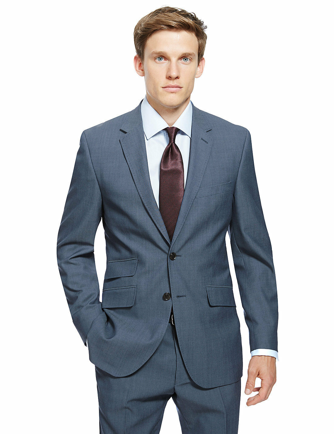 M&S COLLECTION bluee Ultimate Performance Tailored Fit Wool Blend Suit Sz 36L 30