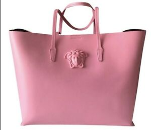 d3295d2c2a Image is loading Versace-Pink-Leather-Handbag-Tote-NWT