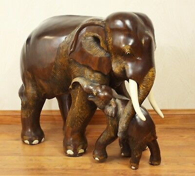 Elephant And Baby Sculpturestatue Woodwooden Hand Carved Large Ebay
