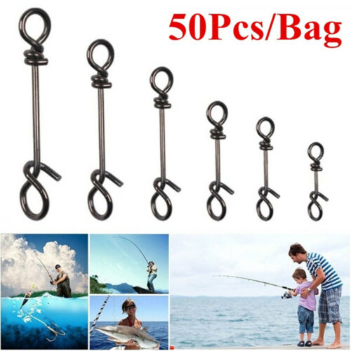 50Pcs Stainless Steel Connector Fishing Fastach Clip Fishing Snap Quickly Lock b