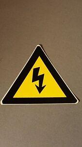 Five 4 X 4 High Voltage Electrical Shock Hazard Warning Symbol