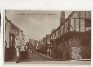 Aber-Conway-House-amp-Castle-Street-Conway-Vintage-Postcard-649a