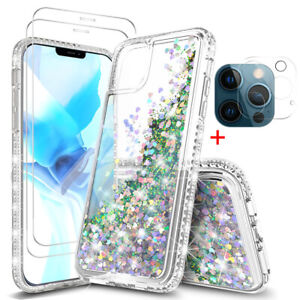 For iPhone 12 Pro Max/11 Pro Max Clear Bling Case+Tempered Glass+Lens Protector