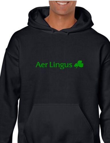 Aer Lingus Green Clover Logo Irish Airline Black Hoodie Hooded Sweatshirt