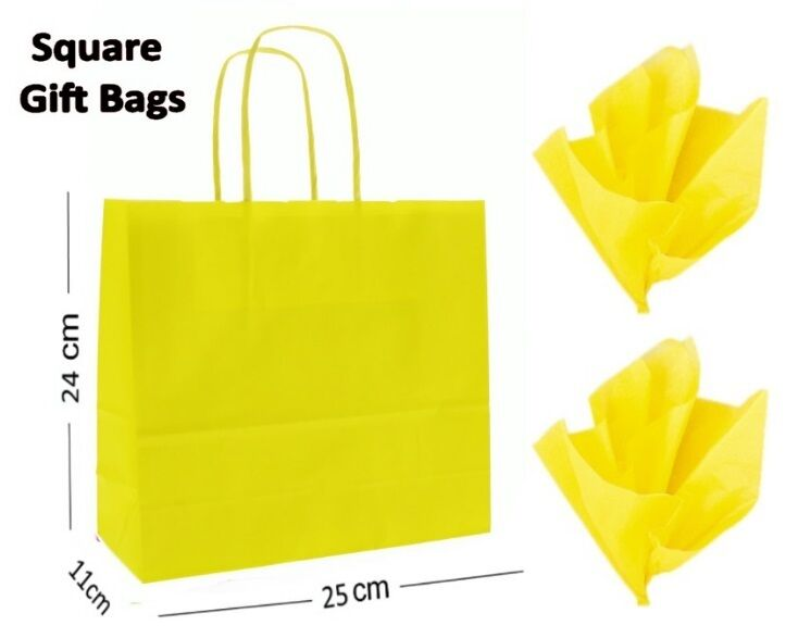 Yellow Square Paper Party Gift Bags & Tissue Wrap  Boutique Shop Loot Bag