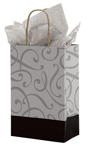 "Paper Shopping Bags 100 Black Silver Swirl Retail 5 ¼/"" x 3 ½/"" x 8 ½/"" Handles"