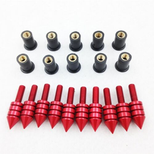 H Red Windshield Bolts Nuts Screw for Yamaha Kawasaki Ducati Honda Suzuki