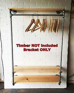 Industrial DIY Pipe Storage Shelf Clothes Garment Rack ...