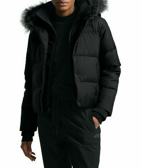 $240! NEW THE NORTH FACE BLACK DEALIO DOWN CROP FUR HOODED JACKET PARKA COAT S