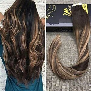 Image is loading FASHION,Balayage,Dark,Brown,Fading,to,Blonde,Tape,