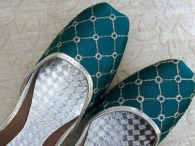 Cuero señoras de la India Verde Boda Fiesta Zapatos Talla 3