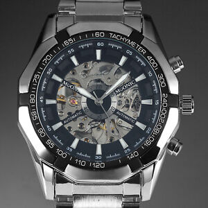 Mens-Watch-Automatic-Silver-Stainless-Steel-Case-Steampunk-Analog-Display-Luxury