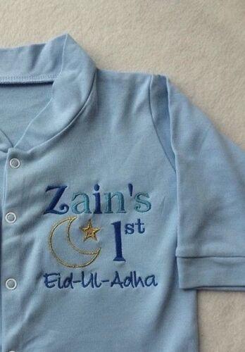 Eid Babygrow Sleepsuit Avec Nom Personnalisé-Nouveau-né NAISSANCE musulman Bébé Cadeau