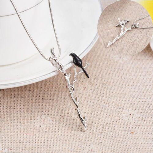 Fashion Charming Bird Branch Pattern Women Jewelry Necklace Long Chain Pendant