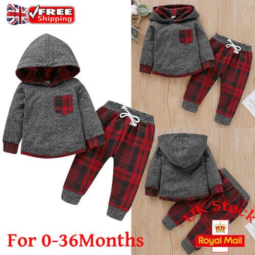 2Pcs Newborn Baby Boy Tracksuit Hooded Top Long Pants Suit Outfits Set Clothes