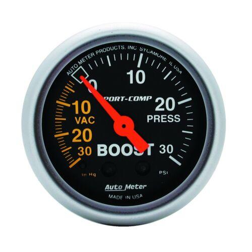 "AutoMeter 3303 Sport-Comp Mechanical Boost//Vacuum 30 psi//30 in Gauge 2-1//6/"""