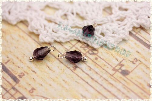 6pz pendente goccia cristallo  Brugne  per orecchini  con gancio argentato