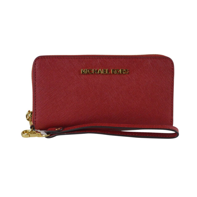 e6d4674d894e4 Michael Kors Jet Set Travel Wristlet Red Chili Wallet Large Coin ...