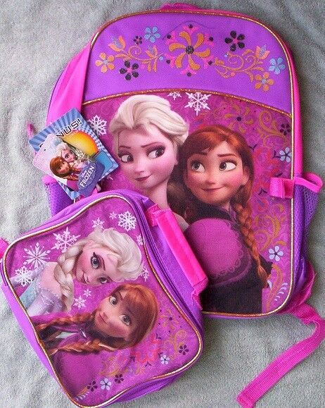 d09a9a851d3f Disney Frozen Elsa Anna Backpack Lunch Tote School Bag Pink Purple  Attachable for sale online