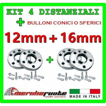 KIT 4 DISTANZIALI PER FIAT FIORINO QUBO 225 PROMEX ITALY 12mm 16mm * L 2008
