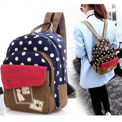 Women's Canvas Travel Rucksack Hobo School Bag Satchel Bookbags Backpack