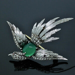 Euro-Antique-Handmade-18K-White-Gold-Diamond-Ruby-amp-Green-Onyx-Bird-Pin-Brooch