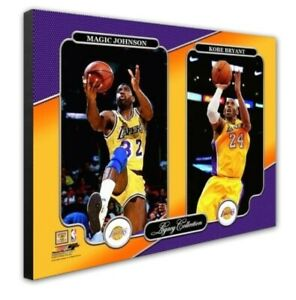 Los-Angeles-Lakers-Kobe-Bryant-Magic-Johnson-16x20-Photo-Picture-framed-Canvas