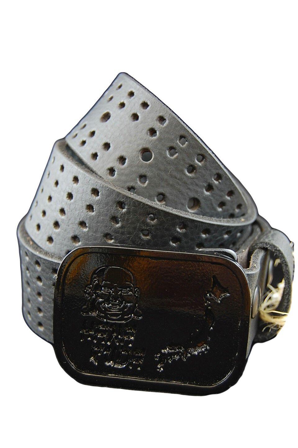 Hanafuda by Yakuza Ink G-HA 307 Unisex Leder Gürtel, Größe 80 cm schwarz
