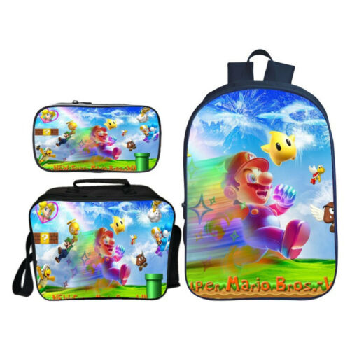 Super Mario Backpack Student SchoolBag Pencil Case Kid Lunch Bag Cooler Bag 3PCS