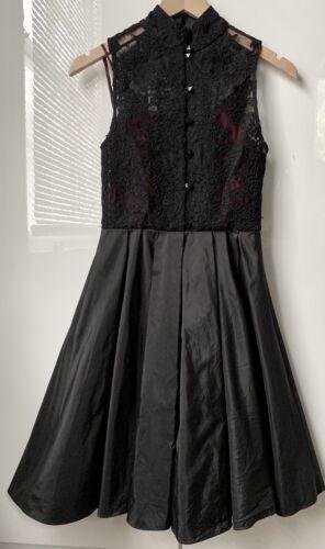 $598 Alice Olivia Black Lace Sleeveless High Neck