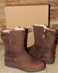 1bdb4c2f16e Details about NIB UGG Women's MADDOX Leather WATER RESISTANT Moto Buckle  Boots CHESTNUT 10