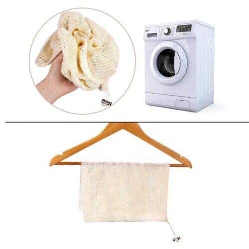 3 sizes Premium Reusable Mesh Produce Bag Eco Organic Cotton Grocery Shopping
