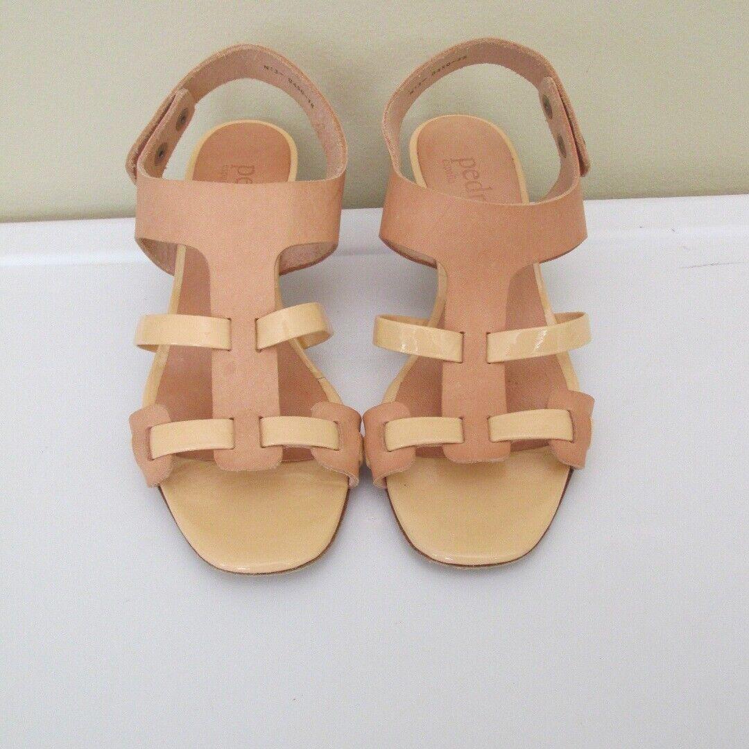 PEDRO GARCIA Tan Leather Snap Strap Low Heel Casual Sandals Sz 38 B5016