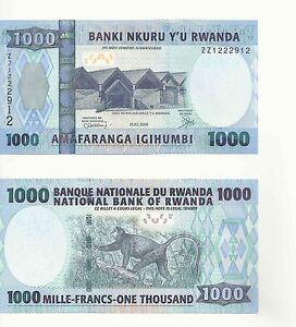 "Replacement ""ZZ"" Serial Banknote Rwanda 1000 Francs UNC - RARE ( 2008)"
