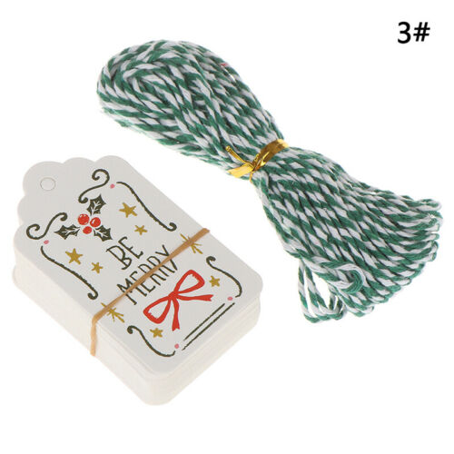 50Pcs Christmas Paper Tags DIY Label For Christmas Party Gift Wrapping Suppl C,I
