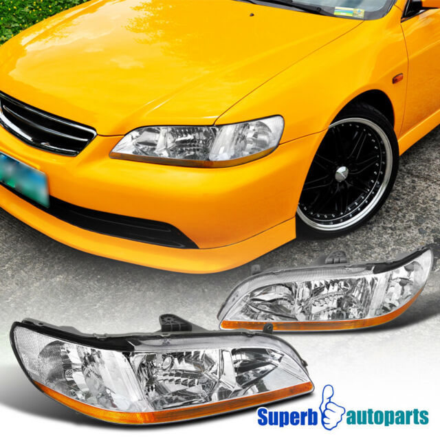 For 1998 2002 Honda Accord Jdm Headlights Clear Head Lamps Chrome