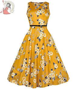 LADY-VINTAGE-50s-style-HEPBURN-FLORAL-DRESS-MUSTARD
